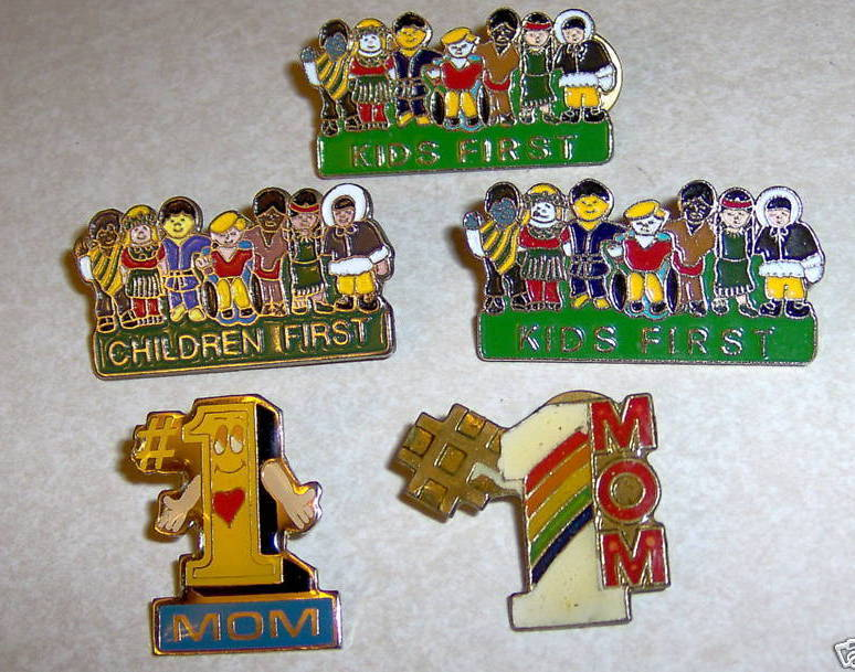Lot 5 Lapel Pins Children & Kids First # Number 1 Mom