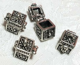 PRAYER BOX OPENS AND CLOSES FINE PEWTER PENDANT CHARM - 15mm L x 17mm W x 15mm D image 2