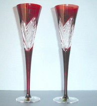 Waterford Crystal Ruby Red 2014 Times Square Flutes SET/2 Imagination New In Box - $268.90