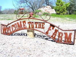 X Large Metal Welcome to the FARM Sign for Wall Entry Gate 56 1/2 inch bz - $179.98