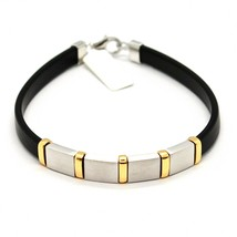 SILVER 925 BRACELET RHODIUM AND LAMINATE YELLOW GOLD WITH RUBBER 20 CM - $57.81