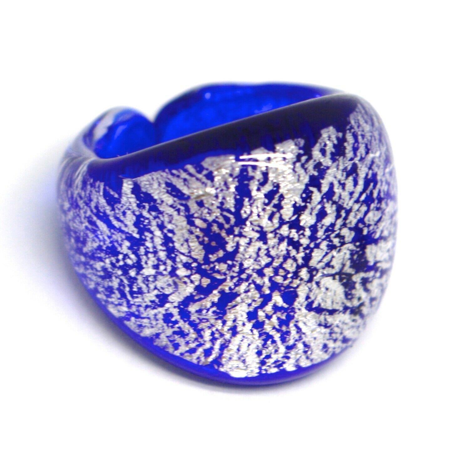 Ring Antique Murrina, Murano Glass, Blue, Leaf ' Silver, Convex, Band