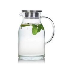 68 Ounces Glass Pitcher with Lid, Water Jug for Hot/Cold Water, Ice Tea and - $25.00