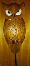 "Vintage Wood OWL Key Holder Hook Wooden Wall Plaque 10"" - $24.74"