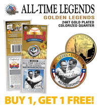 LOU GEHRIG & BABE RUTH Yankees Golden Legends 24K Gold Plated State Quar... - $14.80