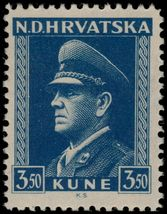 1943 Dr Ante Pavelic Croatia Postage Stamp Catalog Number 68a MNH
