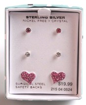 Girls Sterling Silver 925 Pink Clear Crystal Heart Post Stud Earrings New in Box