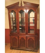"Cherry-finish China Cabinet-50"" w;15"" d;83"" h;ornate pediment and finial... - $500.00"
