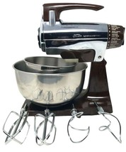 Vintage Mint Sunbeam Chrome and Brown Mixmaster Electric 12 speeds w Bow... - $103.50