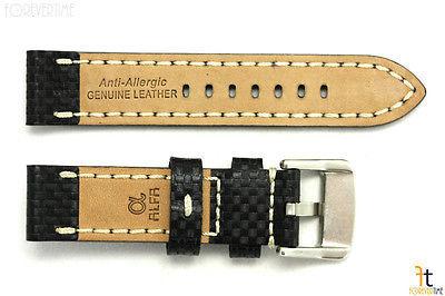 24mm Fibra de Carbono Cuero Negro Correa para Reloj Pulsera Luminox