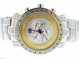 AQUA MASTER QUARTZ 2.60CT CANARY YELLOW AND BLUE DIAMONDS ONE ROW WATCH - $1,484.99