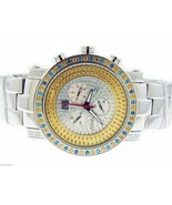 AQUA MASTER QUARTZ 2.60CT CANARY YELLOW AND BLUE DIAMONDS ONE ROW WATCH - $1,484.99