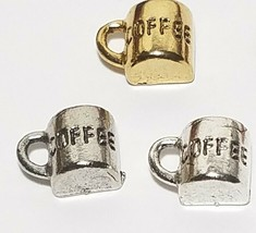 HALF CUP OF COFFEE FINE PEWTER PENDANT CHARM - 12x9x6mm