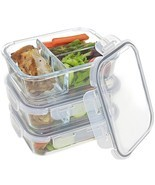 Set Of 3 Divided Glass Food Meal Prep Containers  Food Storage With Lock... - £17.14 GBP