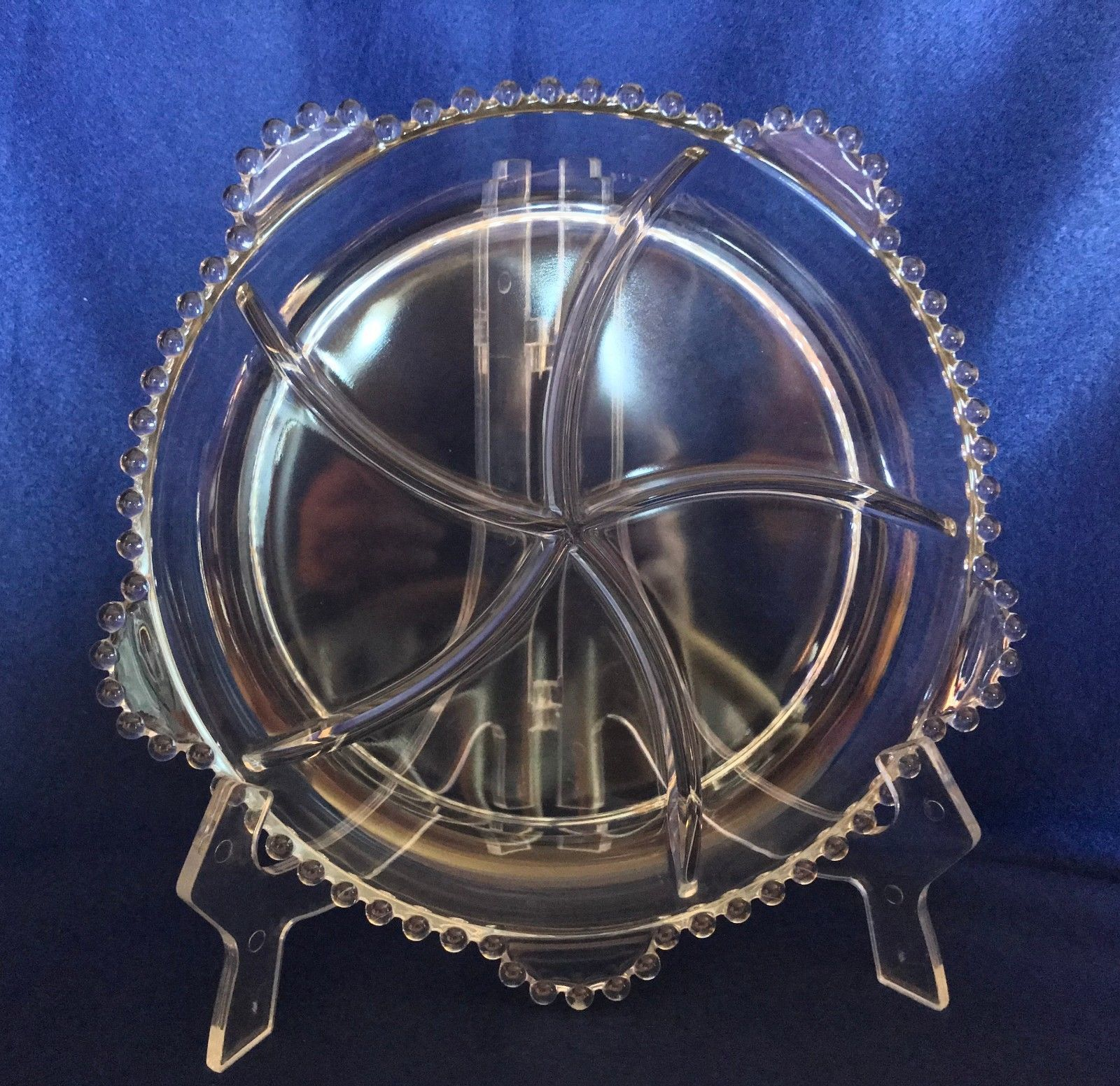 Imperial Glass candlewick round 5 part relish with 5 tab handles excellent