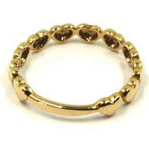SOLID 18K YELLOW GOLD BAND RING, ROW OF ROUNDED HEARTS, HEART, MADE IN ITALY image 3