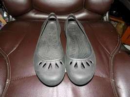 CROCS Black Croslite Slip On Slingback Ballet Flats Shoes Size 10 Women's EUC - $27.30
