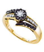 14k Yellow Gold Womens Round Black Color Enhanced Diamond Solitaire Ring... - £433.61 GBP