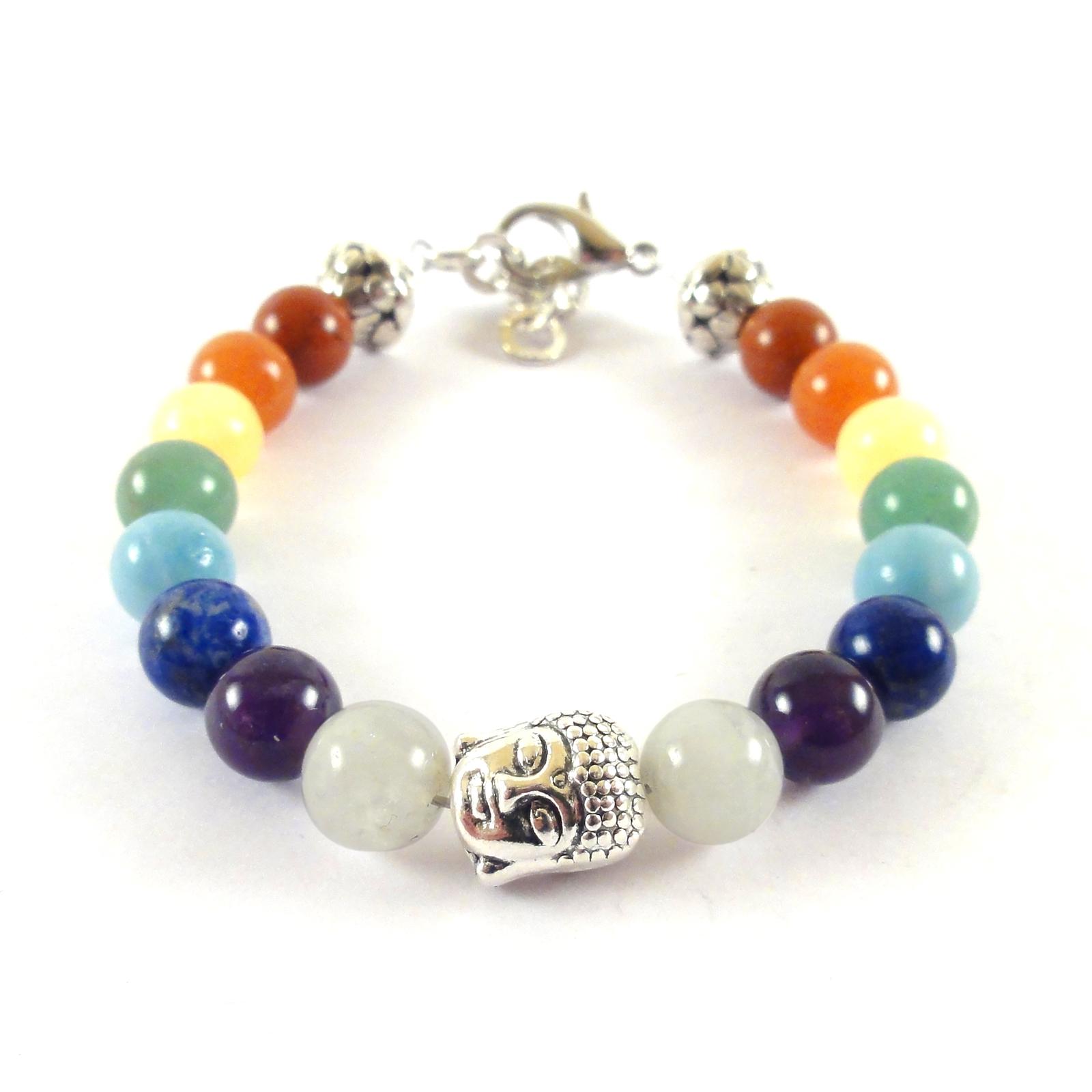 7 Chakra Natural Gemstones Bracelet Handmade with Buddha charm