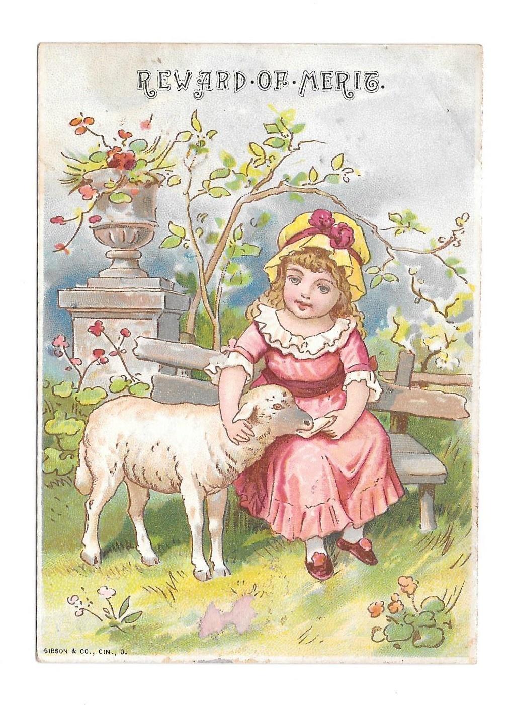 Antique Victorian Reward of Merit Card Girl Lamb Ada Shaffer 1889 Gibson Litho - $4.99