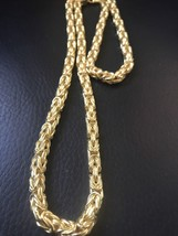 "26"" Byzantine Rope Chain 14k Gold Plated Solid Sterling Silver 5mm 52 Grams - $148.49"