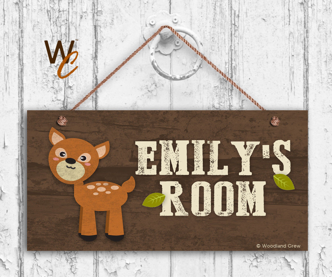 Deer Sign, Woodland Personalized Sign,Kid's Name, Kids Door Sign, 5x10 Sign
