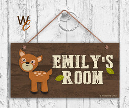 Deer Sign, Woodland Personalized Sign,Kid's Name, Kids Door Sign, 5x10 Sign - $16.29