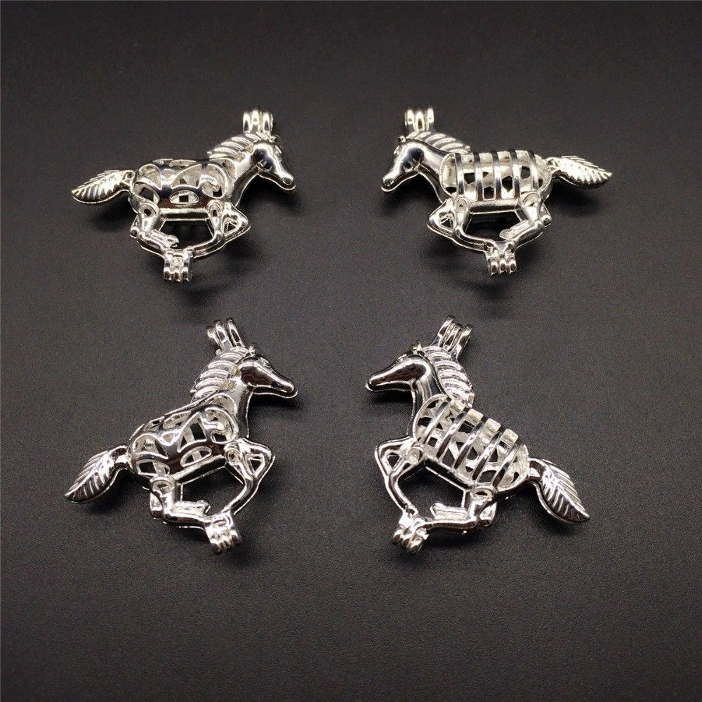 8 pcs Pearl Cage Pendant Shape Running Horse Bright Silver Trendy Fun Gift