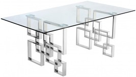 Meridian Furniture Alexis Modern Glass Top Chrome Stainless Steel Dining Table