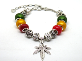 Rasta Style European Murano Beaded Bracelet. Gift bag included - $19.95