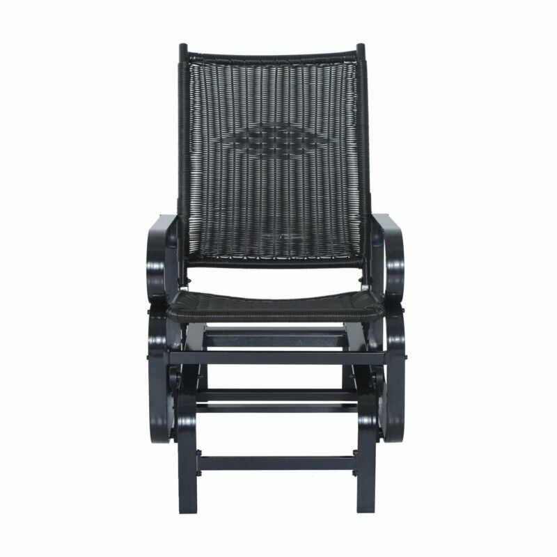 Metal Gliding Patio Chair Outdoor Garden Rattan Rocking Seat Deck Furniture