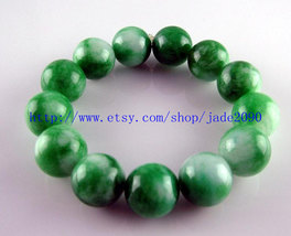 Free Shipping - 15MM Natural Green Jadeite Jade charm beaded jade beads ... - $25.99