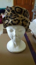 VINTAGE FAUX FUR LEOPARD COSSACK STYLE HAT CAP, NO MAKER MARKS, LINED, 2... - $9.89