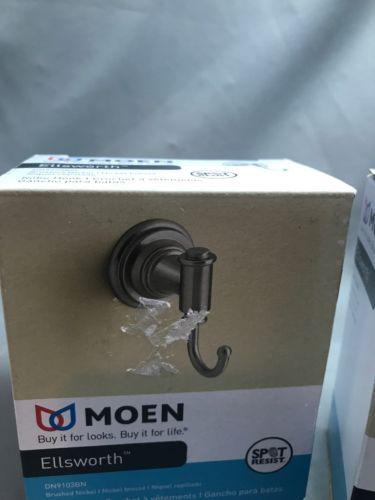 Moen DN9103BN Ellsworth Robe Hook Brushed Nickel - BRAND NEW IN BOX 2 Pieces