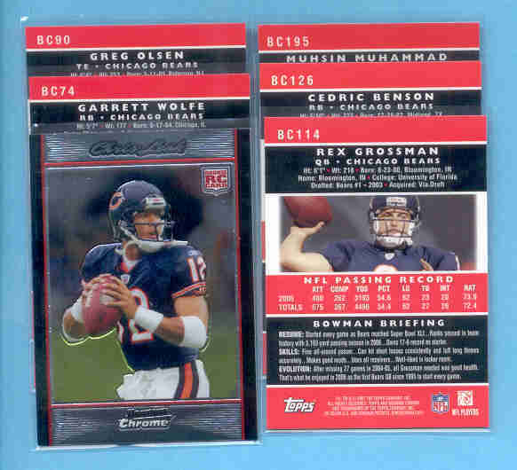 2007 Bowman Chrome Chicago Bears Football Set