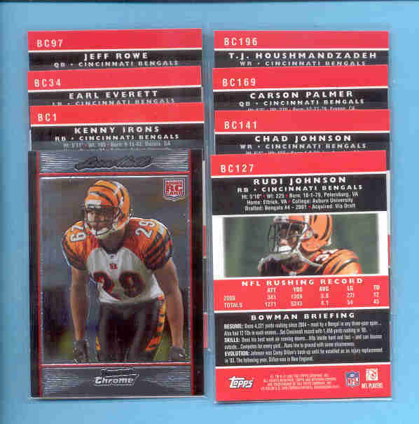 2007 Bowman Chrome Cincinnati Bengals Football Set