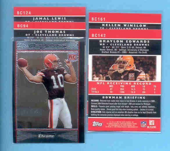 2007 Bowman Chrome Cleveland Browns Football Team Set