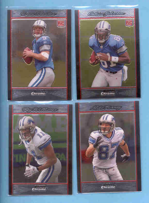 2007 Bowman Chrome Detroit Lions Football Team Set
