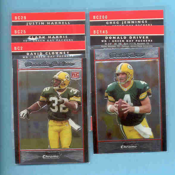 2007 Bowman Chrome Green Bay Packers Football Team Set