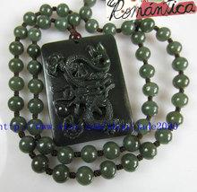 Free Shipping - Amulet Natural Green jadeite jade Carved Dragon beaded jade neck - $29.99