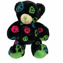 "Build A Bear Black Neon Green Peace Signs Smiley Faces 15"" - $11.69"