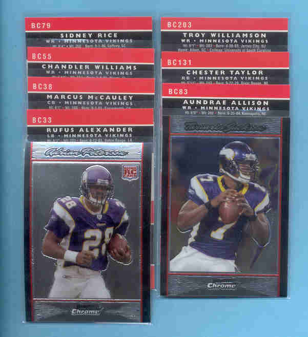 2007 Bowman Chrome Minnesota Vikings Football Set