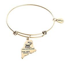 State of Maine Charm Bangle Bracelet (gold-plated-base)