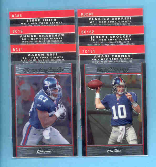 2007 Bowman Chrome New York Giants Football Team Set