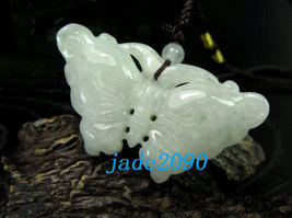 Free Shipping - Lovely Hand-carved Natural Green Butterfly jade charm Pendant -  - $19.99
