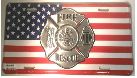"FIRE RESCUE MALTESE CROSS AMERICAN FLAG EMBOSSED METAL LICENSE PLATE - 6"" x 12"""