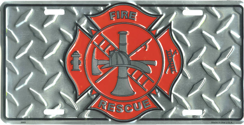 "FIRE RESCUE MALTESE CROSS METAL DIAMOND PLATE LICENSE PLATE SIZE: 6"" x 12"""
