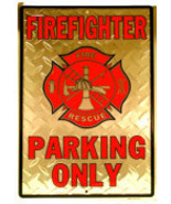 "FIREFIGHTER PARKING ONLY Silver Diamond Plate Metal PARKING SIGN -  8"" x... - $7.87"