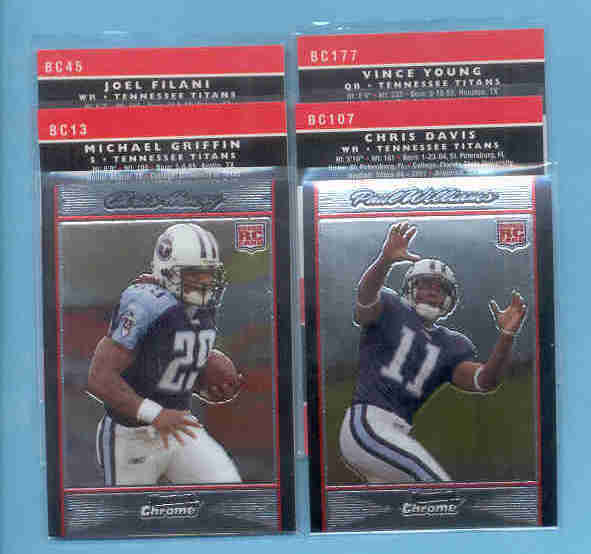 2007 Bowman Chrome Tennessee Titans Football Team Set