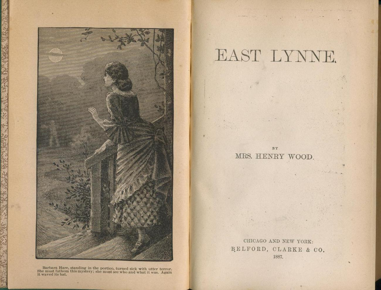 Mrs. Henry Wood - EAST LYNNE - 1887 edition of novel - scarce